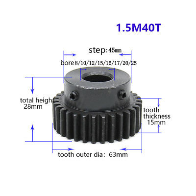 1.5Mod 40T Spur Gear With Step Black Oxide Tooth Thickness 15mm Bore 8-25mm