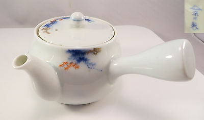 Japanese Fukagawa Seiji Arita Imari Porcelain Teapot Kyūsu Maple Leaves Japan