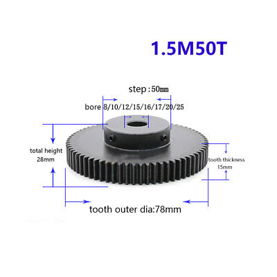 1.5Mod 50T Spur Gear With Step Black Oxide Tooth Thickness 15mm Bore 8-25mm