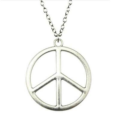 "Large Peace Sign CND Symbol Silver Necklace Pendant (42mm) Long Chain 27"" / 70cm"