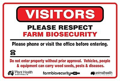 (4 X Signs) Visitors Farm Biosecurity Sign - 450 X 300Mm