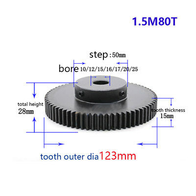 1.5Mod 80T Spur Gear With Step Black Oxide Tooth Thickness 15mm Bore 10-25mm