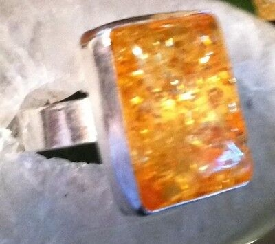 sizes 8.0&8.5& 8.75 Bali Silver gorgeous Baltic Amber ring sparkles vibrant