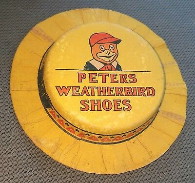 Antique Peters Weatherbird Shoes Hat Shaped Advertising