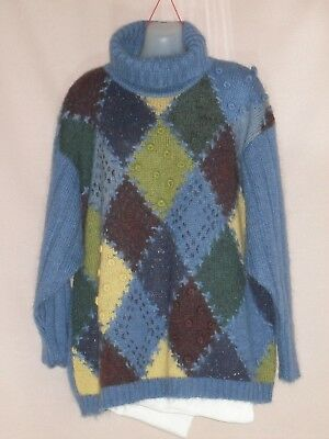 1980's Vintage Polo Neck Mohair Jumper with Feature Front.