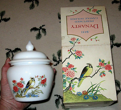 Avon DYNASTY CANDLE HOLDER with GOLDFINCH or WARBLER - New in Box 1970's VINTAGE