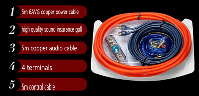 5M 6GA  AWG Car Amplifier Install Kits RCA Cable Power Wire 60A Insurance Gall