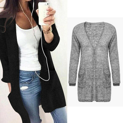 UK Womens Knitted Sweater Casual Long Sleeve Cardigan Jacket Coat Top Outwear XL