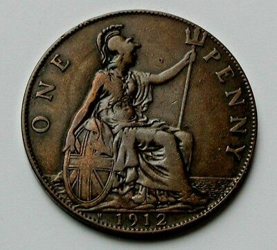 1912 H UK (British) George V Coin - One Penny (1d) - Heaton mint mark