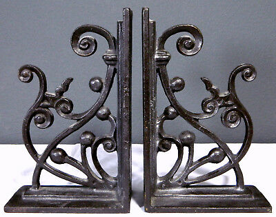 "Vtg Pair of Large Cast Iron Bookends Ornate Corbel Design 11"" (10 Lbs Each)"