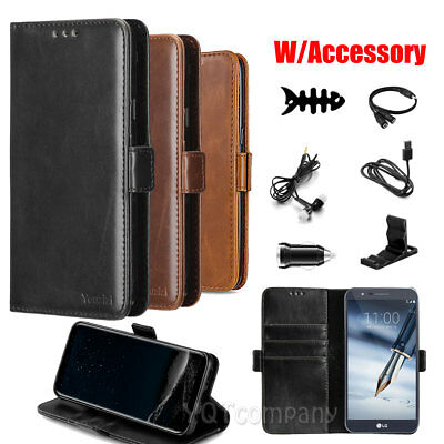 For LG Stylo 3 / 4 Plus Premium Leather Wallet Case Pouch Flip Phone Cover