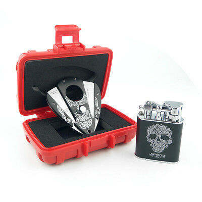 JIFENG Red Travel Cigar Suit Cigar Humidor With Jet Lighter And Cigar Cutter