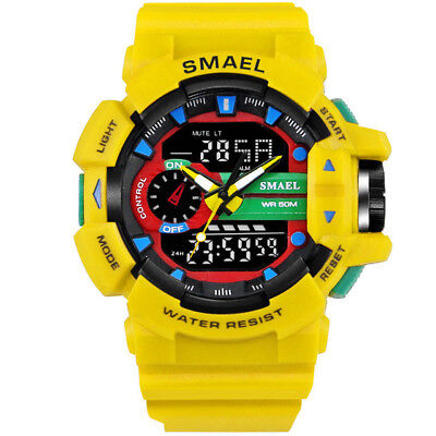 SMAEL LED Digit Sport Watches Men 50M Waterproof Shock Dual Time Casual Watches