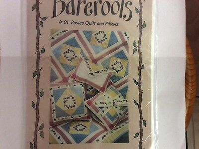 "Quilt & Stitchery Patterns By Bareroots ""  Posies Quilt"" & Pillows"