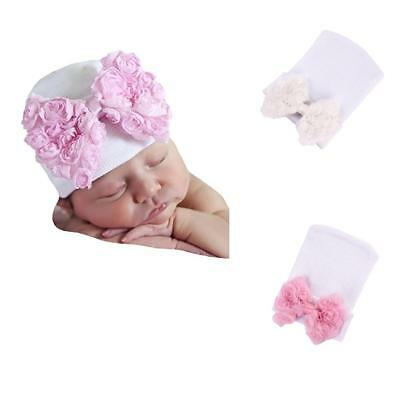 2pcs Baby Girls Infant Colorful Soft Hat Bow Cap Hospital Newborn Beanie