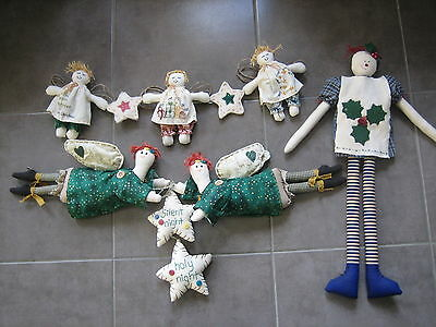 Handmade Whimsical Christmas dolls, bulk lot, Sewing Craft decorations, hanging
