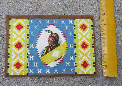 Original c 1910s Native American Indian Tobacco Felt One Feather