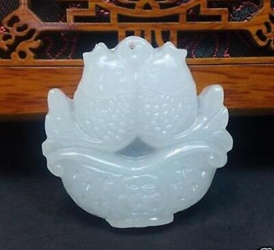 100%New Chinese natural hand-carved  white jade pendant - Fish