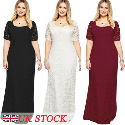 Plus Size Womens Long Lace Cocktail Ladies Prom Evening Party Bodycon Maxi Dress