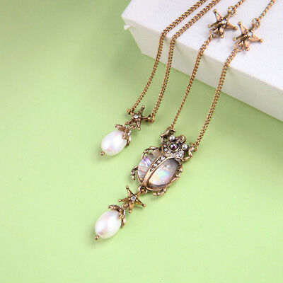 Necklace Long Golden Pendant 2 en 1 Beetles Insect Star Pearl Culture DDZ2