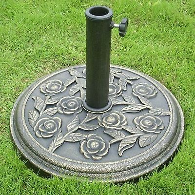 Cast Iron Effect Parasol Base Heavy Duty Rose Metal Garden Patio Umbrella Stand