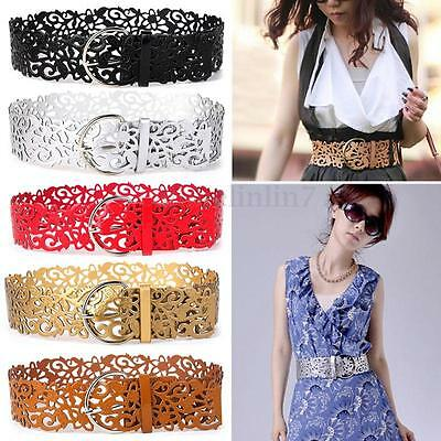 Women Hollow Buckle PU Leather Waist Belt Wide Stretch Waistband For Dress Skort