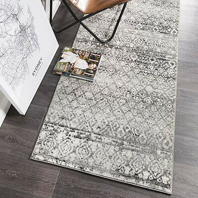 HARBOR GREY BOHO TRIBAL DISTRESSED MODERN FLOOR RUG RUNNER 80x500cm **NEW**