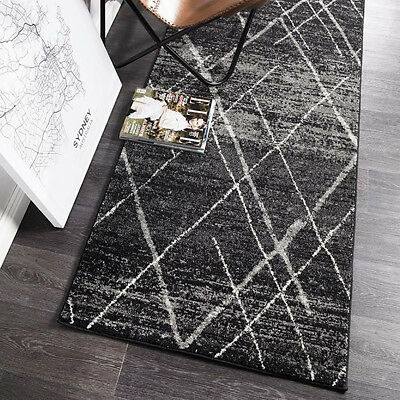 HARBOR CHARCOAL BOHO TRIBAL DIAMOND MODERN FLOOR RUG RUNNER 80x500cm **NEW**