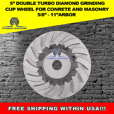 "5"" Double Turbo Diamond Grinding Cup Wheel for Concrete 18 Segs - 5/8""-11 Thread"