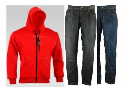 RKSports Motorcycle Motorbike CE Armoured Protective Red Hoodie and Jeans
