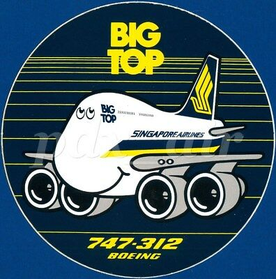 Ultra Rare Old Stock New Big Top Singapore Airlines Boeing 747-312 Sticker