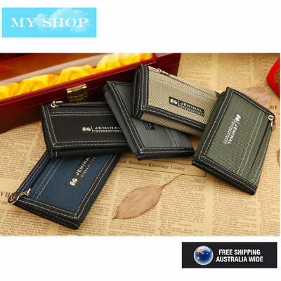 Men, Boys, Teenage Canvas Trifold Wallet with Zipper Coin Pocket