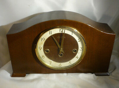 Vintage Bentima 8 Day Chime Mantle Clock Hermle German Movement Walnut Case 13""