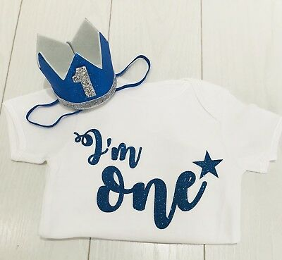 Baby Boys First 1st Birthday Cake Smash Outfit Set T-Shirt Top Vest & Hat Blue