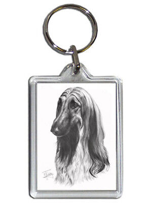 Mike Sibley Afghan Hound Quality Acrylic Keyring 50mm x 35mm Dog Lover Gift