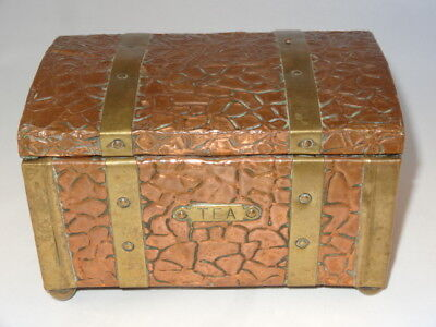 Antique Victorian Wood Copper Brass Zinc Lined Tea Caddy Chest With Strapping