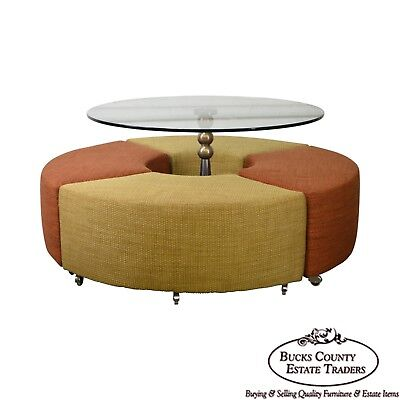 Outer Limits Round MCM Style Contemporary Glass Top Dinette Table w/ Stools