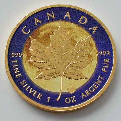 2017 1oz .999 Canadian Maple Leaf  Sun Colorised & Gold Gilded Silver Coin