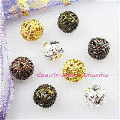 30Pcs Round Filigree Spacer Beads Charms 12mm Gold Silver Bronze Plated