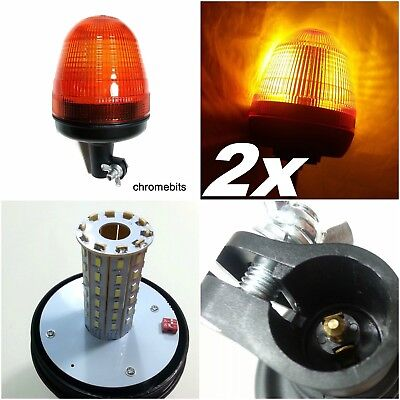 2x LED Rotating Flashing Amber Beacon Flexible Pole Tractor Warning Lights 12-24