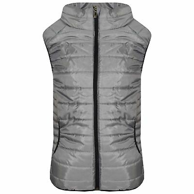 Kids Girls Boys Steel Grey Sleeveless High Neck Padded Gilet Bodywarmer Jackets