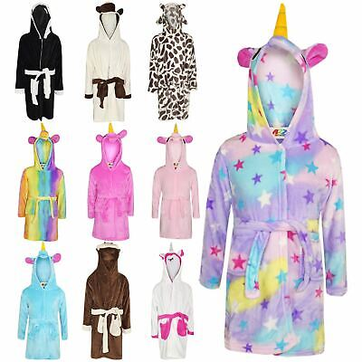 Kids Girls Boys Bathrobe 3D Animal Unicorn Dressing Gown Fleece Night Loungewear
