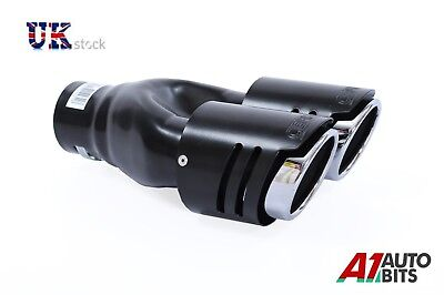 Sport Dual Twin Exhaust Muffler Pipe Tail Tip Black For Bmw E32 E34 E36 E46