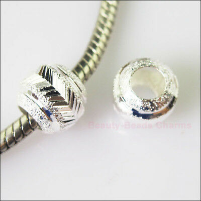 10 Silver Plated Round Stardust 5mm Hole Beads fit European Charm Bracelet 10mm