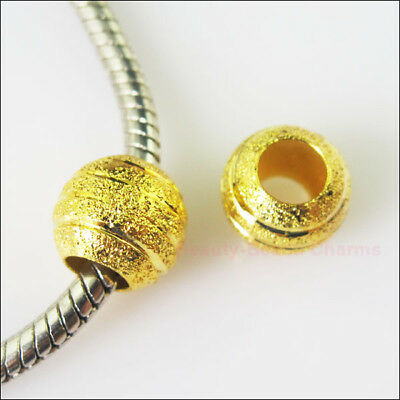 10 Gold Plated Round Stardust 5mm Hole Beads fit European Charms Bracelet 10mm