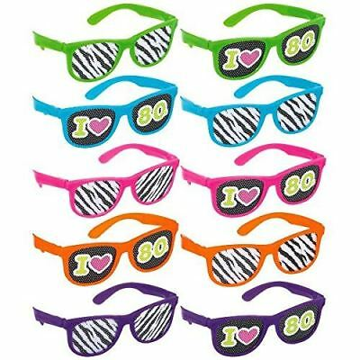 10pcs I Love the 80s Neon Rave Zera Print Glasses Novelty Party Pack Stag Rave