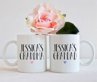 Set Of 2 Mugs Personalised Childs Grandma Nan Nanny Grandad Mug Cup Present Gift