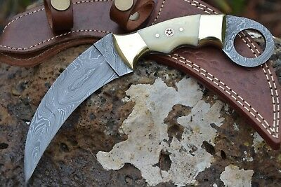 "HUNTEX Handmade Damascus 9"" Long Full Tang Camel Bone Karambit Knife w/ Sheath"