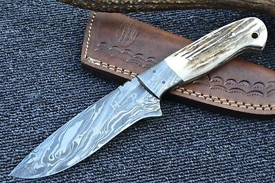 "HUNTEX Handmade Damascus 9"" Long Deer Horn Drop Point Hunting Skinning Knife"
