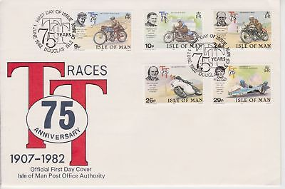 Unaddressed Isle of Man FDC First Day Cover 1982 TT Tourist Trophy Races 75th